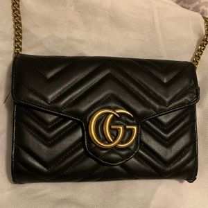 Gucci Marmont Chevron quilted leather wallet chain